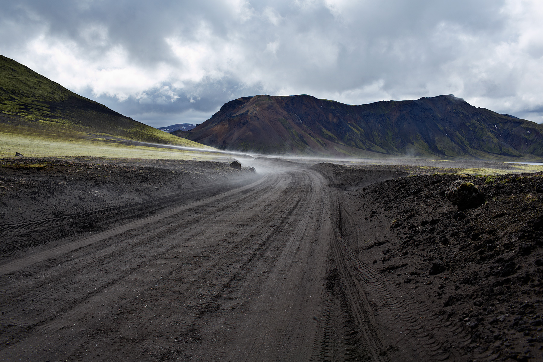 Empty road in mountain landscape in Iceland