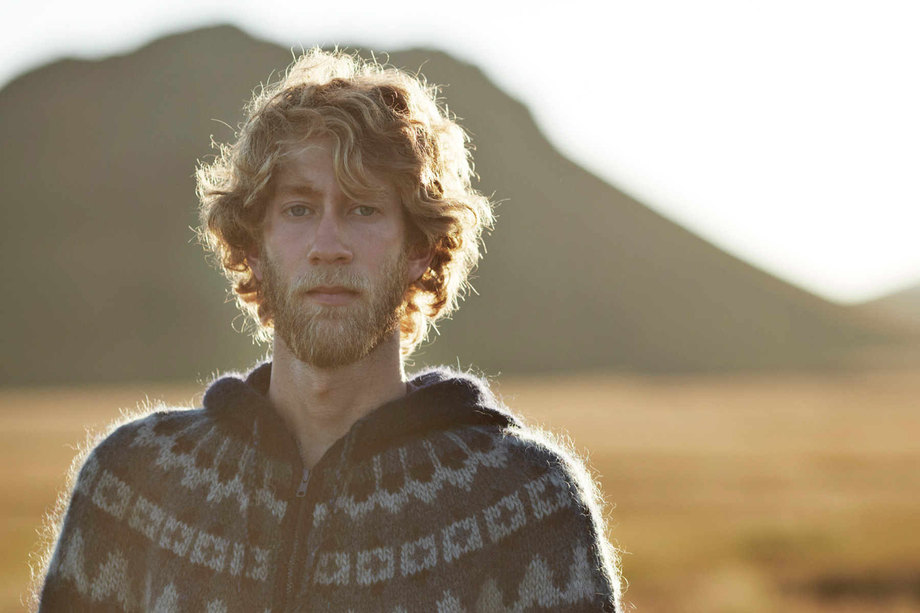 Portrait of man in the nature of Iceland