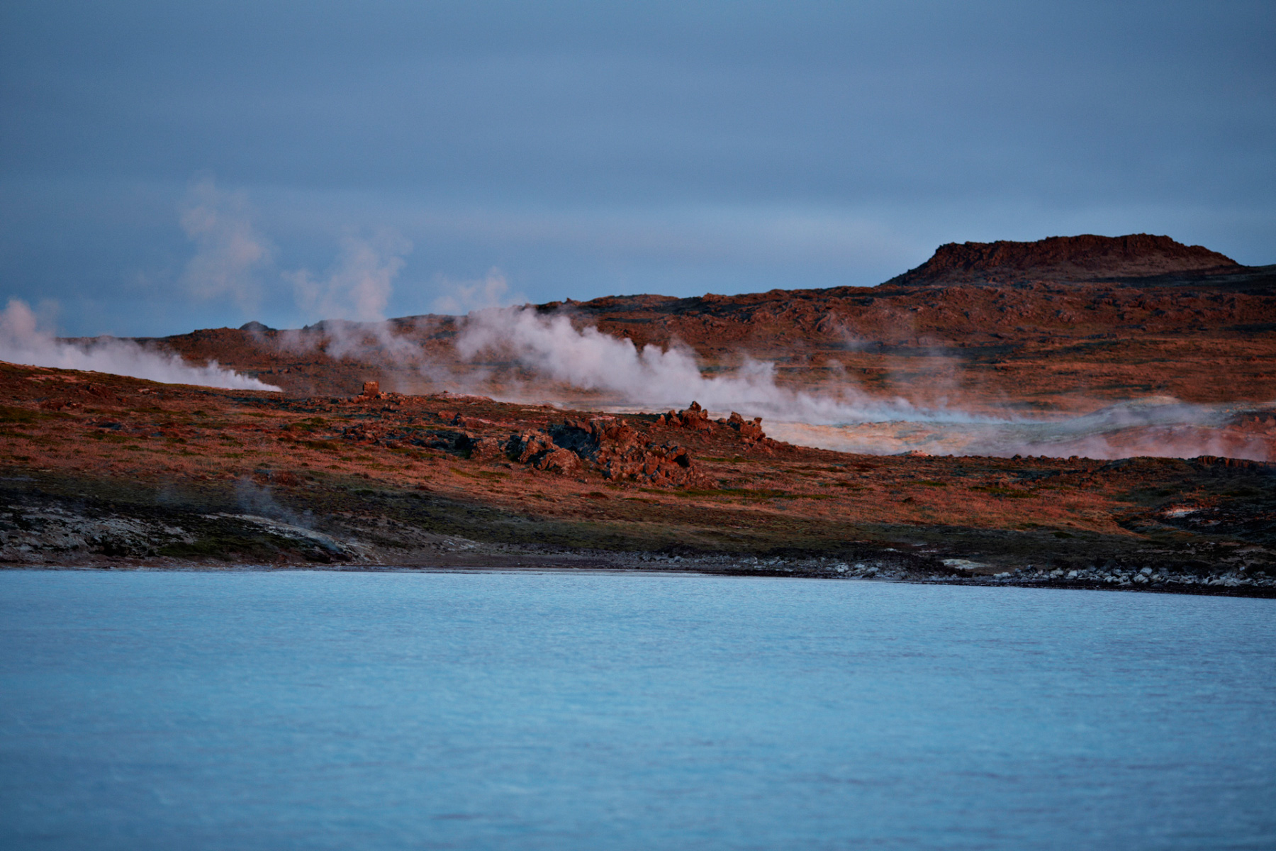 Steam from the underground blowing in Iceland