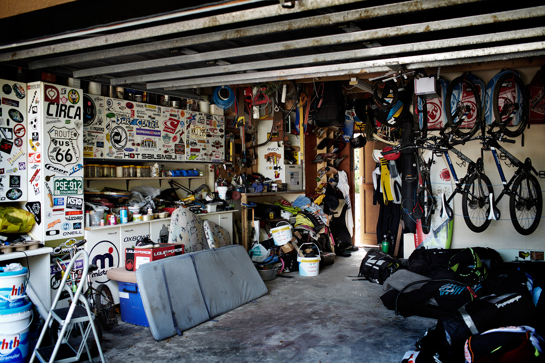 Cool messy garage at surf families house